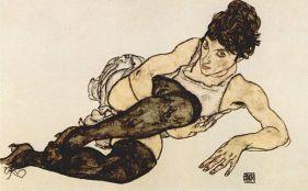 Frau mit grünen Strümpfen by Egon Schiele